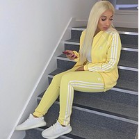 Adidas Fashion Letter Long Sleeve Shirt Sweater Pants Sweatpants Set Two-Piece Sportswear yellow