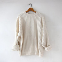 vintage natural white sweater. slouchy oversized sweater. textured knit sweater. cotton sweater