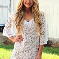 lace overlay, floral lace, bell sleeves, 3/4 length sleeves, v neck line, classy