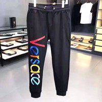 VERSACE Woman Men Embroidery Running Pants Trousers Sweatpants