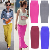 Lady Women Summer Casual Bodycon Pure Color Plain Maxi Long Pencil Skirt  W_C = 1946888004