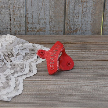 Bottle Opener, Wall Mounted, Shabby Chic, Red, Hand Painted, Cast Iron, Metal, Distressed, Retro, Open Here