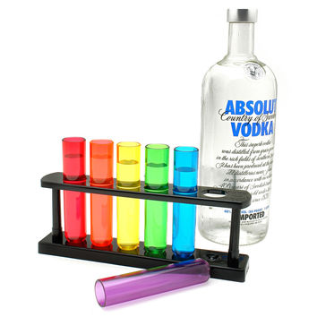 Test Tube Shooters, Set of 6 with Stand