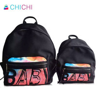 CHICHI New Designer Couples Backpacks Ladies Women Black Famous Brand Shoulder Mochila BABY Letters Rainbow Printing Travel Bags