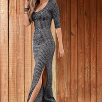 Round Neck Half Sleeve Long Knit Maxi Dress