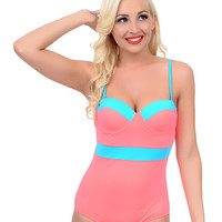 Vintage Style Pin-Up Hot Coral & Aqua Color Block Sweetheart Maillot Swimsuit