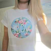 5SOS Five Seconds Of Summer Floral Circle Logo Circular White Short Sleeved TShirt Unisex Adult Size Small, Medium, Large, and XLarge