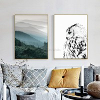 2 Panel Landscape Poster Owl Print Scandinavian Canvas Painting Nordic Art Wall Picture For Living Room Modern Home Decor