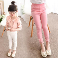 2017 New Children Girls Pants Spring Fall Pink White Green Leggings Kids Princess Cotton Mid Pants Solid Children Clothing 2-9T
