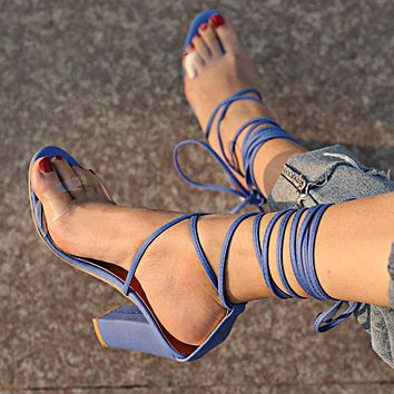 New high-heeled strap with thick-heeled crystal sequins large size sandals Jean blue