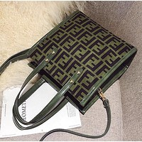FENDI Hot Sale Trending Women Stylish Leather Handbag Shoulder Bag Crossbody Satchel Green