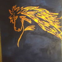 Navy Blue and Orange Football Team Colors Horse Acrylic Paiting 2016 Football