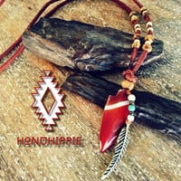 Boho native american arrowhead necklace, gypsy hippie jewelry