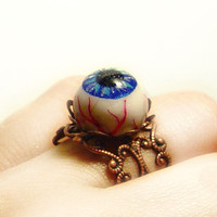 Eyeball ring, polymer clay, creepy / horror jewellery