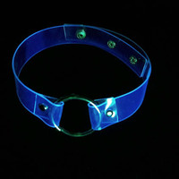 UV glowing o ring choker UV reactive clear transparent vinyl collar cyber psycho grunge softgoth party necklace idustrial lollita gothic 90s