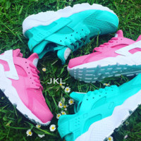 Pink Rosa Nike Air Huarache white sole customs, unisex.