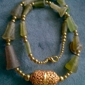 Holiday Sales Event Roman glass tubular pieces and Golden filigree  Nepalese bead necklace