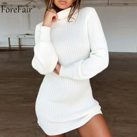 Forefair Autumn Knitted Sweater Dress Women 2018 Ladies Turtleneck Sexy Dress Noddles Female Long Sleeve Winter Dress