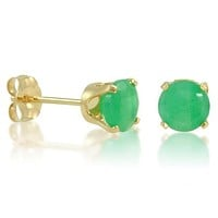 14K Yellow Gold Round Emerald Stud Earrings (5mm)
