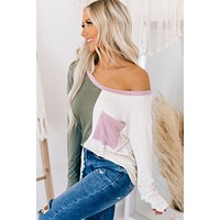 Two Faced Split Color Long Sleeve Top (Light Olive/Cream)