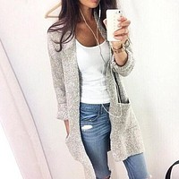 Women Long Sleeve loose knitting cardigan Sweater Knit Cardigan Female