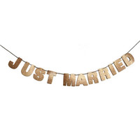 JUST MARRIED Glitter Banner Sign Wall Decor - Rose Gold - Wedding Party Decoration - More colors available