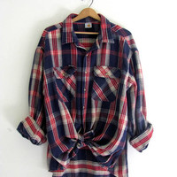 Vintage blue and red plaid boyfriend flannel / Grunge Shirt / size XXL