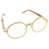 Iced Out Round Gold Tone Hip Hop Wooden Frame Sunglasses