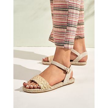 Braided Band Ankle Strap Espadrille Sandals