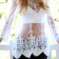 Lace Embroidery Long Sleeve Blouse