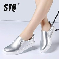 Women Genuine Leather Metallic Color Loafers