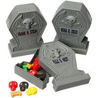 Candy Filled Plastic Gravestones 3-Packs: 12-Piece Display