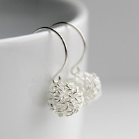 Small & Simple Silver Tangled Wire Ball Dangle Earrings - Handmade Minimalist Fashion Jewelry - Ready to Ship
