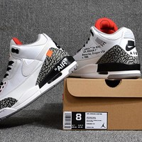 Off White x Air Jordan 3 Retro White Cement Sneaker Size 40----47.5