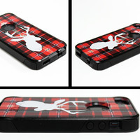 Otterbox Commuter Apple iPhone 5 5s Personalized Cell Phone Case Plaid Deer Buck Hunting Lumberjack Name Monogram Protective Hard OB-1017