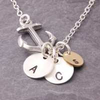 Initial Disc Necklace, 1 to 5 initials, anchor necklace, mother daughter, sisters necklace, friendship necklace, personalized jewelry, N14-2