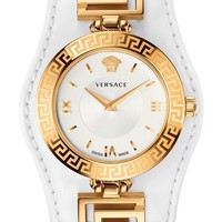 Women's Versace 'V-Signature' Convertible Leather Strap Watch, 35mm - White