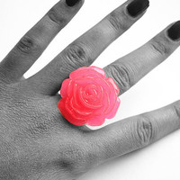 Fabulous Neon Pink Rose Ring with Adjustable Vintage Filigree Bronze Band