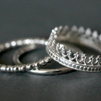 Queen's Crown sterling silver stack ring. Gift under 50. high polish shiny MIRROR finish.