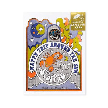 Astrology Birthday Card + Pin Combo - Scorpio