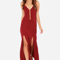 Miss Behave Wine Red Maxi Dress