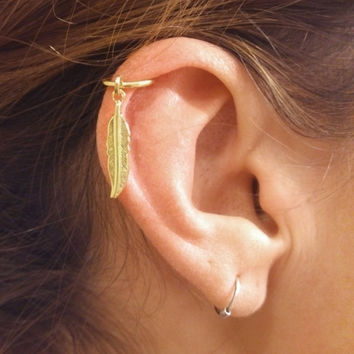 Gold Cartilage Hoop Gold Feather Earring Boho Tragus Helix Piercing