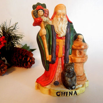 Old World China Santa Claus Porcelain Figurine Vintage 1991 Santas of the Nations Asian Chinese Sheng dan lao ren Christmas Decor