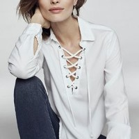 Cloth & Stone Lace-Up Henley in White Size: