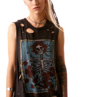 Lauren Moshi Grateful Dead Rose Muscle Tee Faded Black
