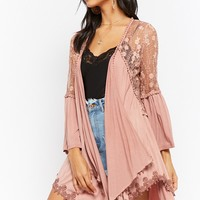 Sheer Mesh Floral Embroidered Oil Wash Knit Cardigan