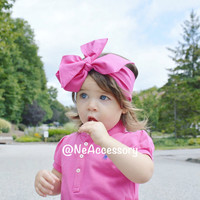 Hot Pink Baby Turban head Wrap, Bright Pink Infant Headwrap, Adult Headwrap, Big Bow Hadwrap(READY TO SHIP)