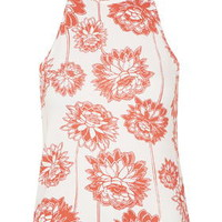 Floral Print High Neck Top - Red