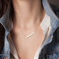 Personalized Skinny Bar Necklace / Customized Gold Bar Necklace / Silver, Gold or Rose Gold Large Bar Necklace / Name Bar Necklace