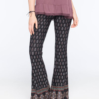 Full Tilt Border Print Womens Flare Pants Multi  In Sizes